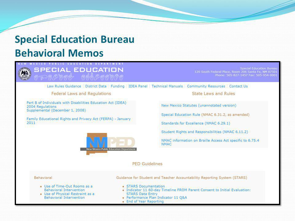 Special Education Bureau Behavioral Memos