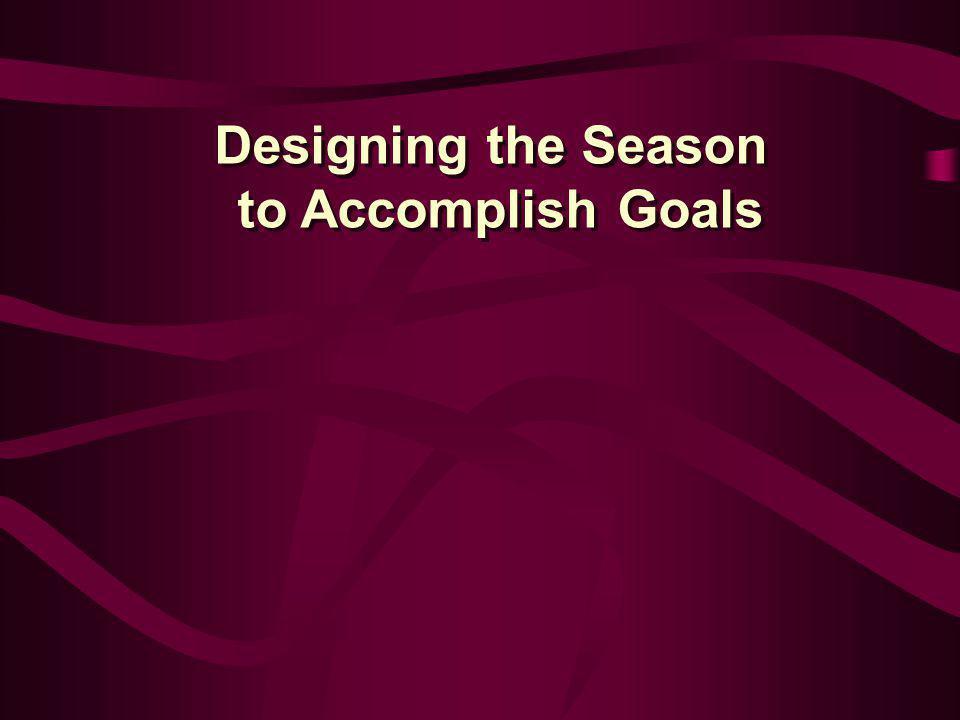 Designing the Season to Accomplish Goals Designing the Season to Accomplish Goals