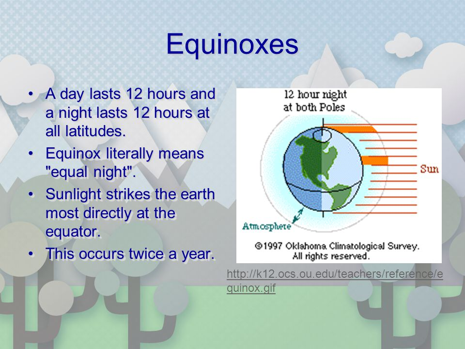 Equinoxes A day lasts 12 hours and a night lasts 12 hours at all latitudes.A day lasts 12 hours and a night lasts 12 hours at all latitudes. Equinox l