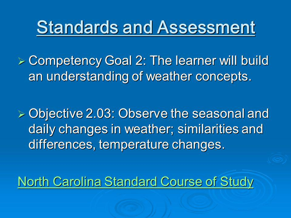 Standards and Assessment Competency Goal 2: The learner will build an understanding of weather concepts.