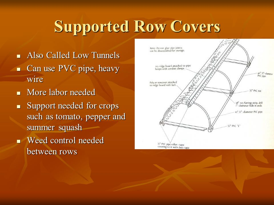 Supported Row Covers Also Called Low Tunnels Also Called Low Tunnels Can use PVC pipe, heavy wire Can use PVC pipe, heavy wire More labor needed More