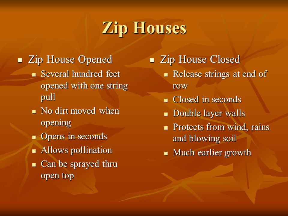 Zip Houses Zip House Opened Zip House Opened Several hundred feet opened with one string pull Several hundred feet opened with one string pull No dirt