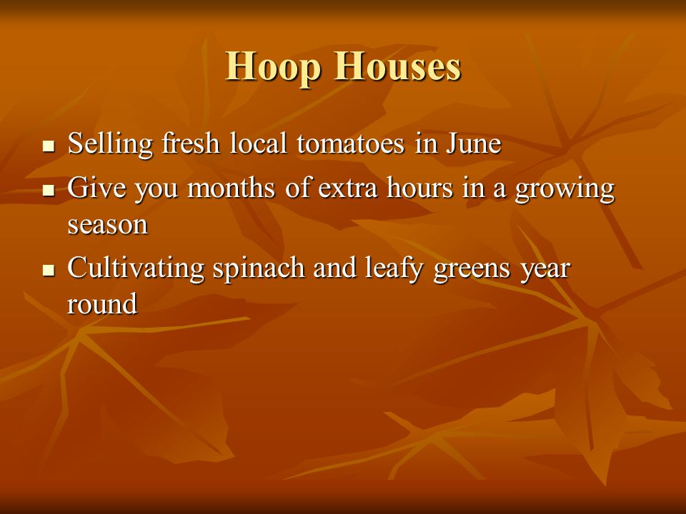 Hoop Houses Selling fresh local tomatoes in June Selling fresh local tomatoes in June Give you months of extra hours in a growing season Give you mont