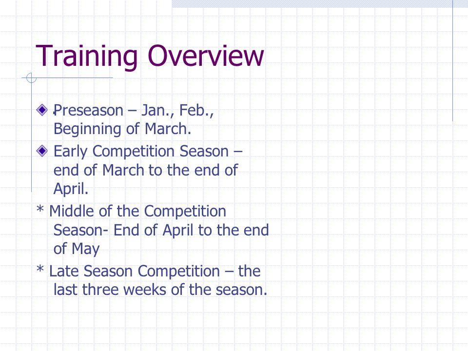 Training Overview Preseason – Jan., Feb., Beginning of March. Early Competition Season – end of March to the end of April. * Middle of the Competition