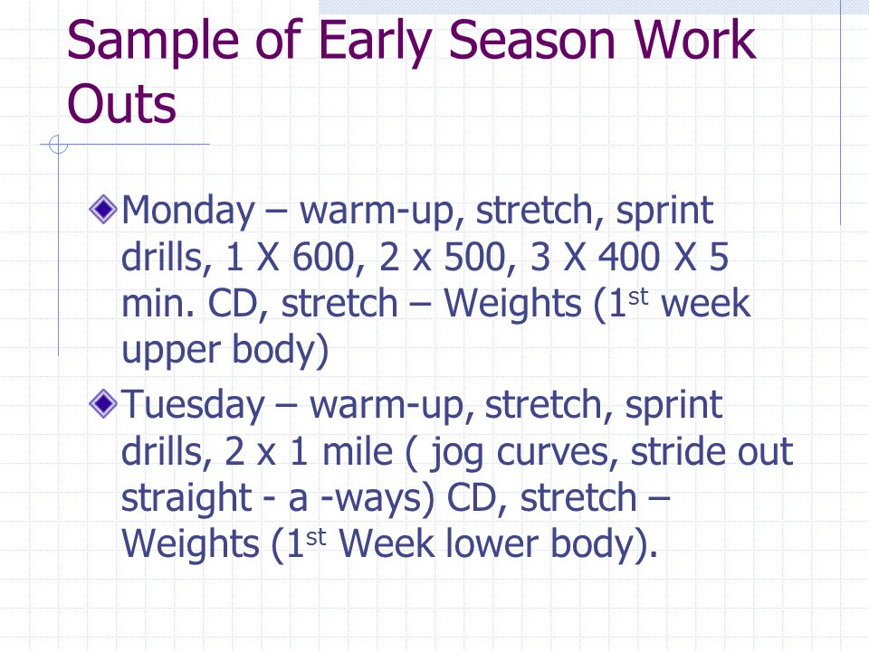 continue Wednesday – warm-up, stretch, sprint drills, 4 to 6 x 200 at 400 pace work (ex.