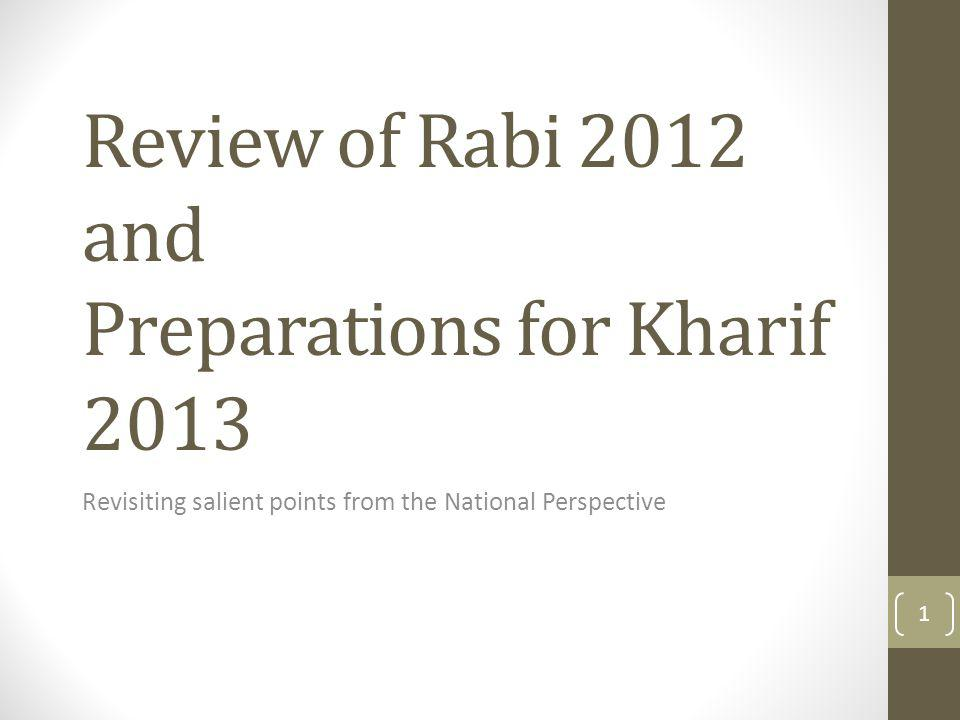 Review of Rabi 2012 and Preparations for Kharif 2013 Revisiting salient points from the National Perspective 1