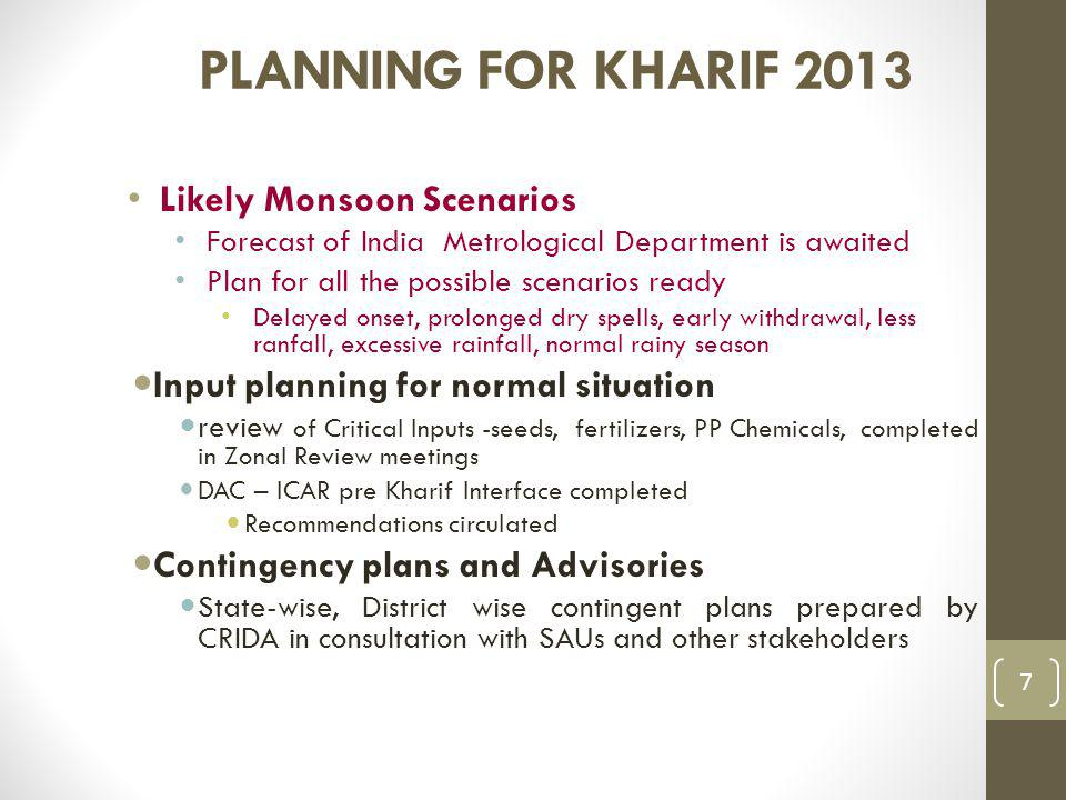 PLANNING FOR KHARIF 2013 Likely Monsoon Scenarios Forecast of India Metrological Department is awaited Plan for all the possible scenarios ready Delayed onset, prolonged dry spells, early withdrawal, less ranfall, excessive rainfall, normal rainy season Input planning for normal situation review of Critical Inputs -seeds, fertilizers, PP Chemicals, completed in Zonal Review meetings DAC – ICAR pre Kharif Interface completed Recommendations circulated Contingency plans and Advisories State-wise, District wise contingent plans prepared by CRIDA in consultation with SAUs and other stakeholders 7