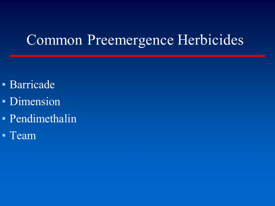 Common Preemergence Herbicides Barricade Dimension Pendimethalin Team