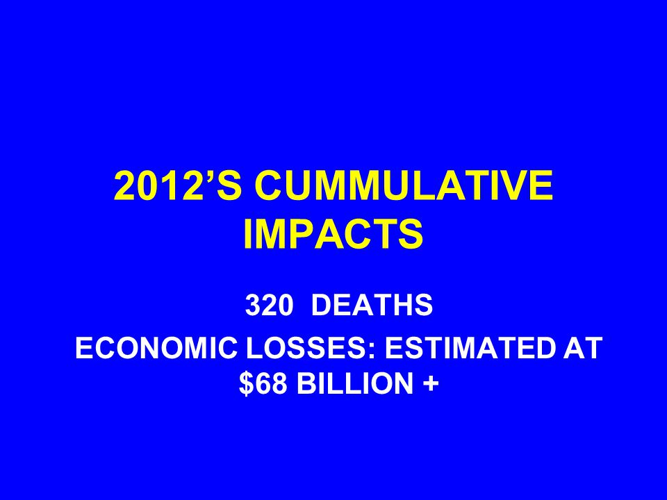 2012S CUMMULATIVE IMPACTS 320 DEATHS ECONOMIC LOSSES: ESTIMATED AT $68 BILLION +