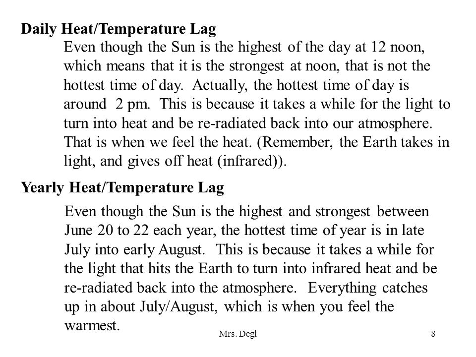 Mrs. Degl8 Daily Heat/Temperature Lag Even though the Sun is the highest of the day at 12 noon, which means that it is the strongest at noon, that is