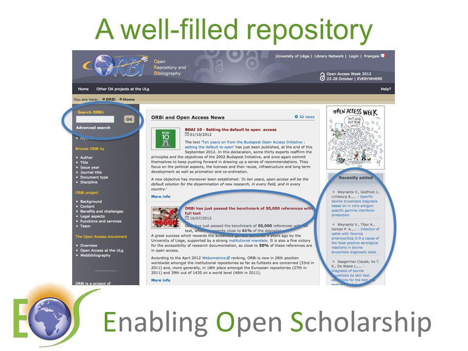 Enabling Open Scholarship A well-filled repository