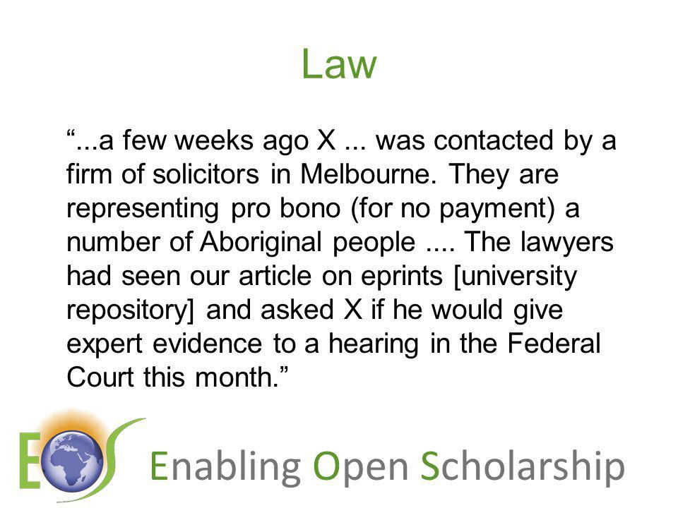 Enabling Open Scholarship Law...a few weeks ago X...