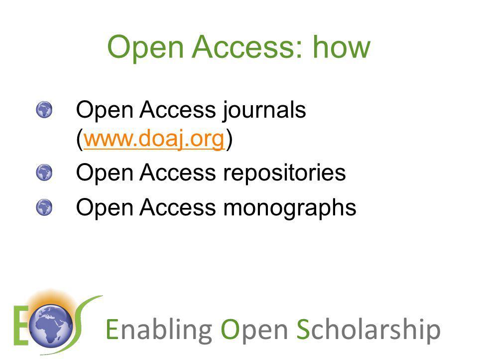 Enabling Open Scholarship Impact