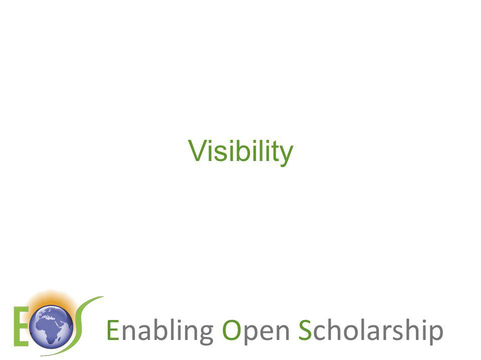 Enabling Open Scholarship An authors own testimony on open access visibility Self-archiving in the PhilSci Archive has given instant world-wide visibility to my work.