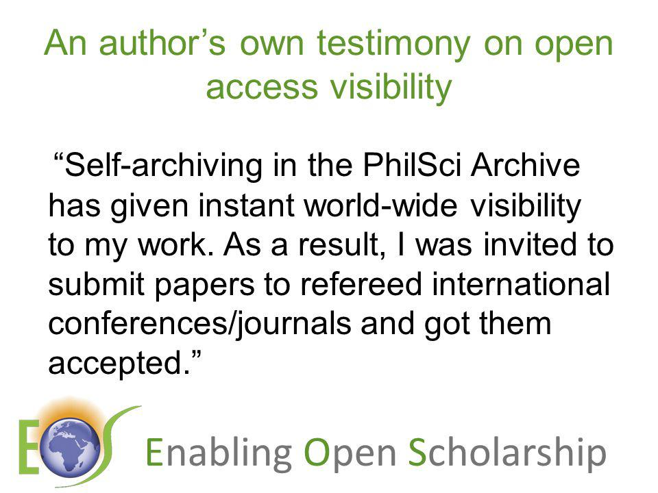 Enabling Open Scholarship What OA means to a researcher