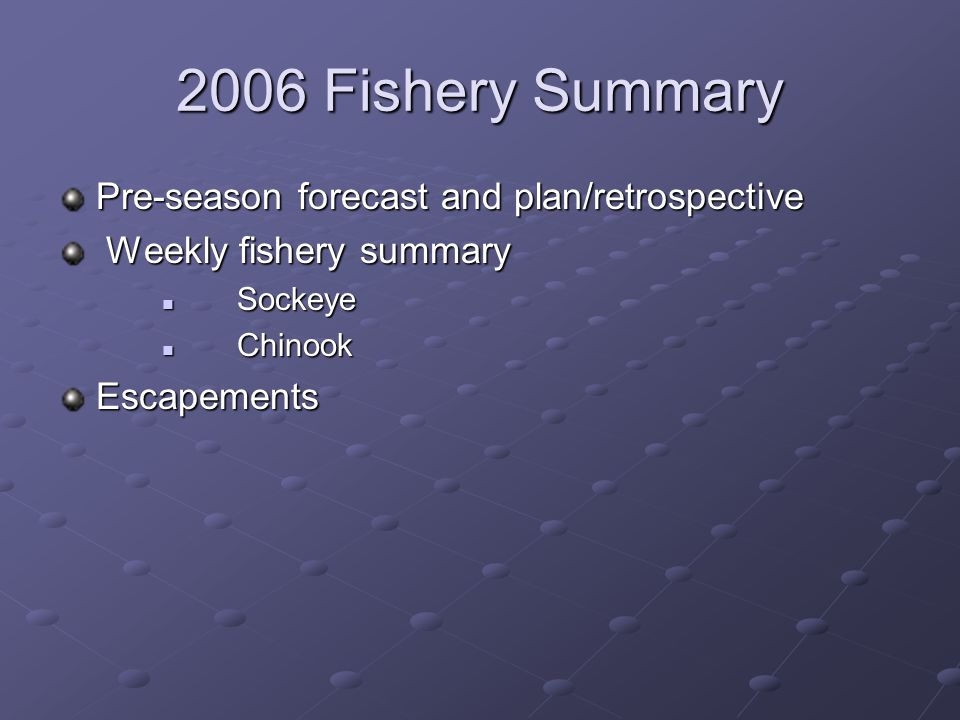 SOCKEYE Pre-season Forecast and Plan/Retrospective Forecast 570,000 (represented an average of the two best performing forecast methods) Actual forecast point estimates ranged from ~ 330K to 815K Large esc in 2001 and 2002, but 2001 esc skewed to GCL with Sproat esc of 158K only slightly above the average for the stock.