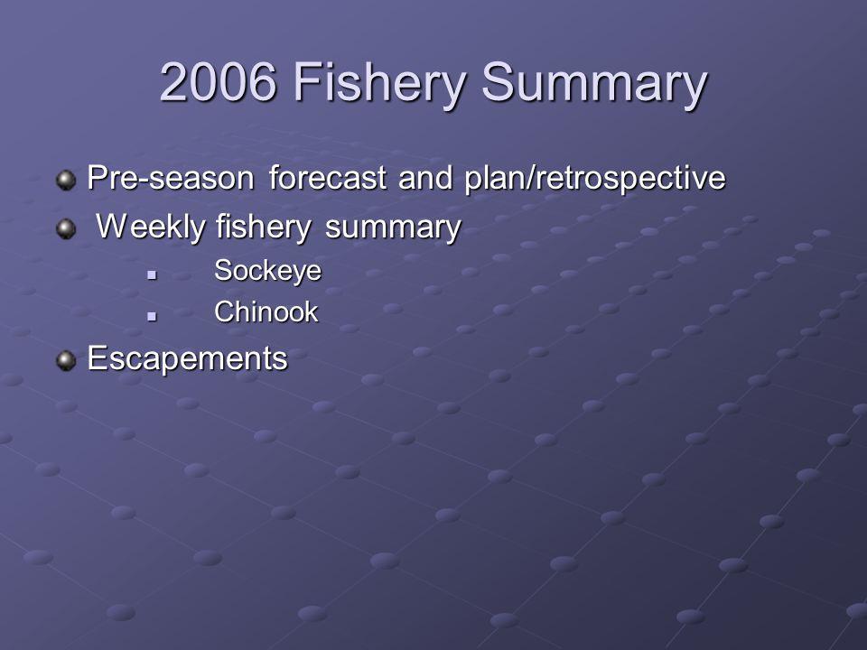 2006 Fishery Summary Pre-season forecast and plan/retrospective Weekly fishery summary Weekly fishery summary Sockeye Sockeye Chinook ChinookEscapements