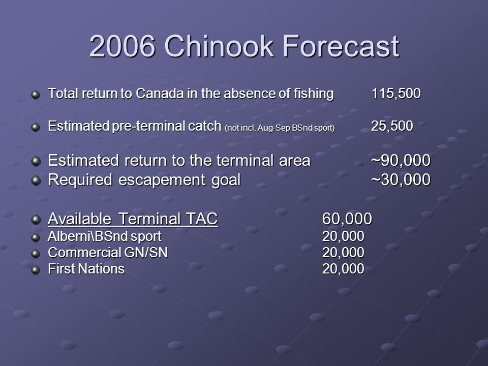2006 Chinook Forecast Total return to Canada in the absence of fishing115,500 Estimated pre-terminal catch (not incl.