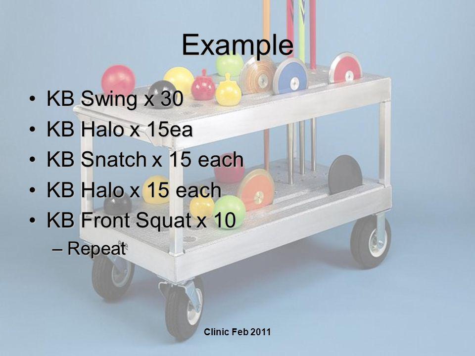 Clinic Feb 2011 Example KB Swing x 30KB Swing x 30 KB Halo x 15eaKB Halo x 15ea KB Snatch x 15 eachKB Snatch x 15 each KB Halo x 15 eachKB Halo x 15 each KB Front Squat x 10KB Front Squat x 10 –Repeat