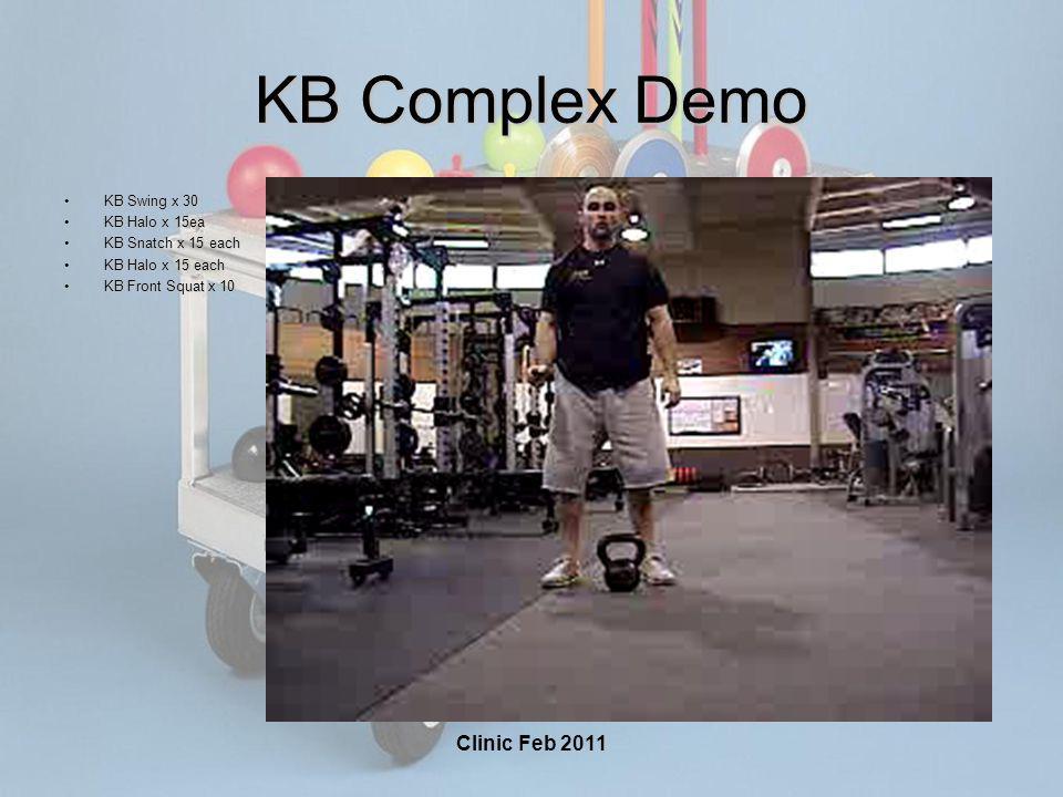 Clinic Feb 2011 KB Complex Demo KB Swing x 30KB Swing x 30 KB Halo x 15eaKB Halo x 15ea KB Snatch x 15 eachKB Snatch x 15 each KB Halo x 15 eachKB Halo x 15 each KB Front Squat x 10KB Front Squat x 10