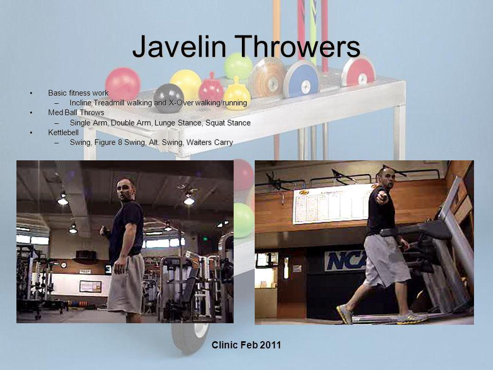 Clinic Feb 2011 Javelin Throwers Basic fitness workBasic fitness work –Incline Treadmill walking and X-Over walking/running Med Ball ThrowsMed Ball Th