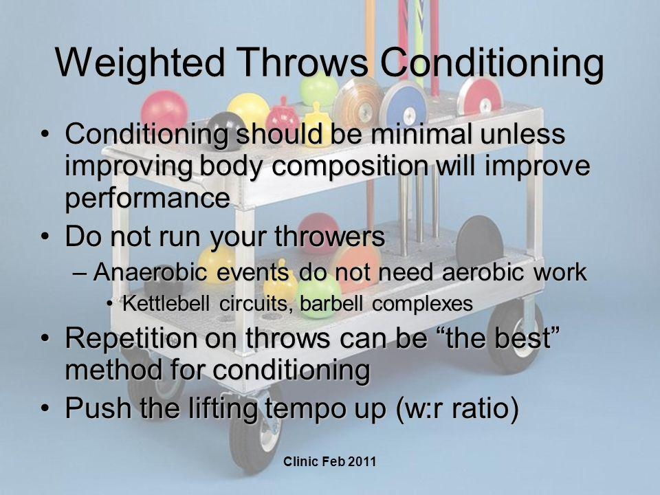 Clinic Feb 2011 Weighted Throws Conditioning Conditioning should be minimal unless improving body composition will improve performanceConditioning sho