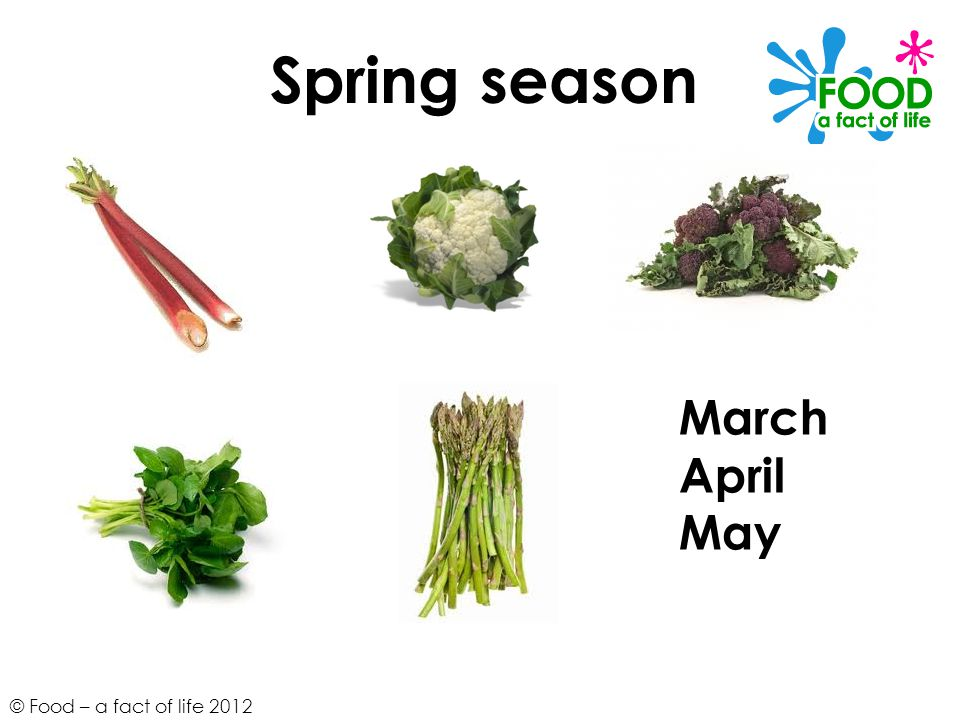 © Food – a fact of life 2012 Spring season March April May