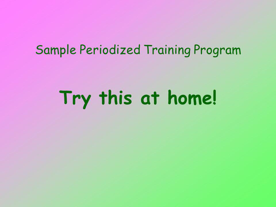 Sample Periodized Training Program Try this at home!