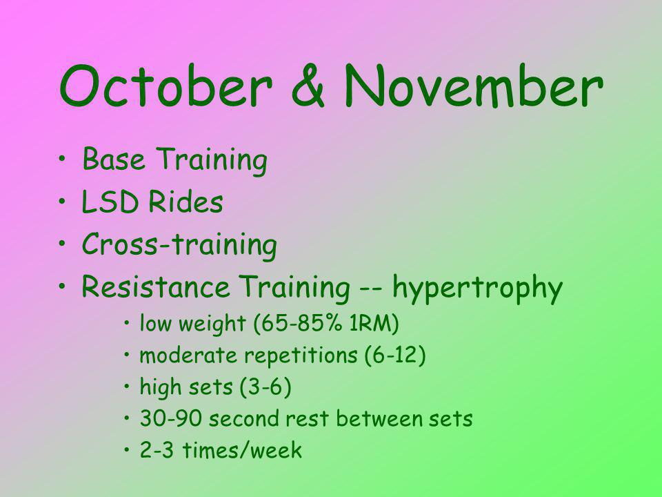 October & November Base Training LSD Rides Cross-training Resistance Training -- hypertrophy low weight (65-85% 1RM) moderate repetitions (6-12) high sets (3-6) second rest between sets 2-3 times/week