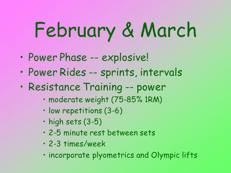 February & March Power Phase -- explosive! Power Rides -- sprints, intervals Resistance Training -- power moderate weight (75-85% 1RM) low repetitions