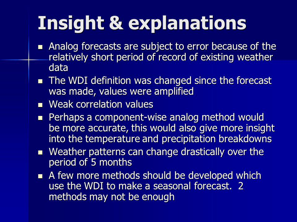 Insight & explanations Analog forecasts are subject to error because of the relatively short period of record of existing weather data Analog forecast