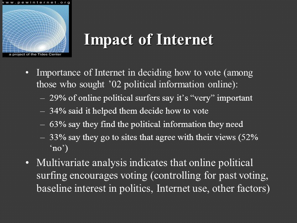 Impact of Internet Importance of Internet in deciding how to vote (among those who sought 02 political information online): –29% of online political s