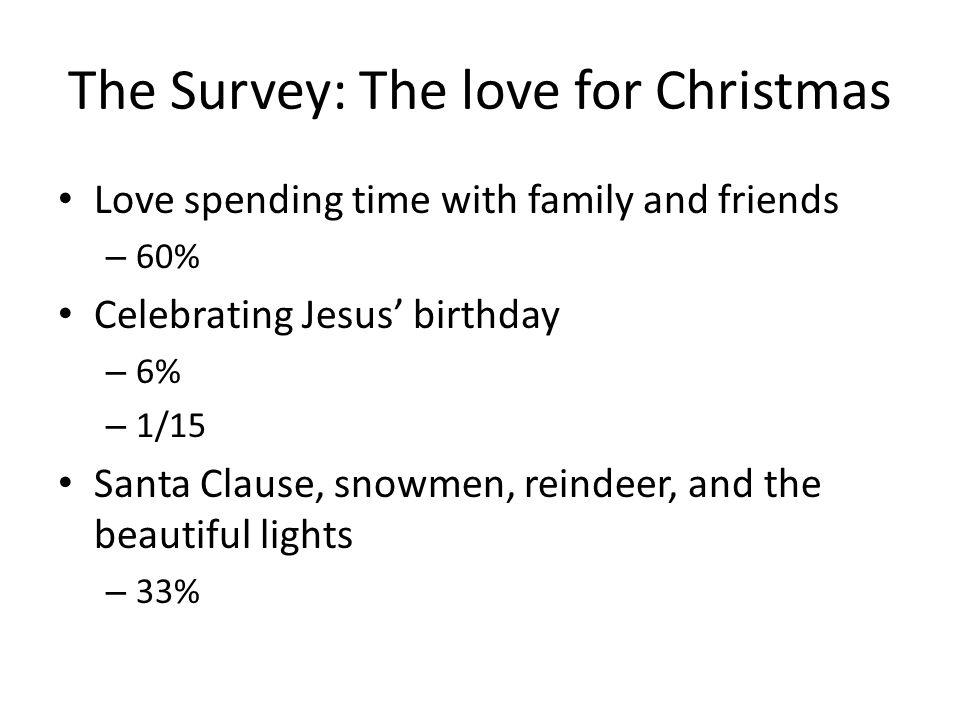 The Survey: The love for Christmas Love spending time with family and friends – 60% Celebrating Jesus birthday – 6% – 1/15 Santa Clause, snowmen, reindeer, and the beautiful lights – 33%