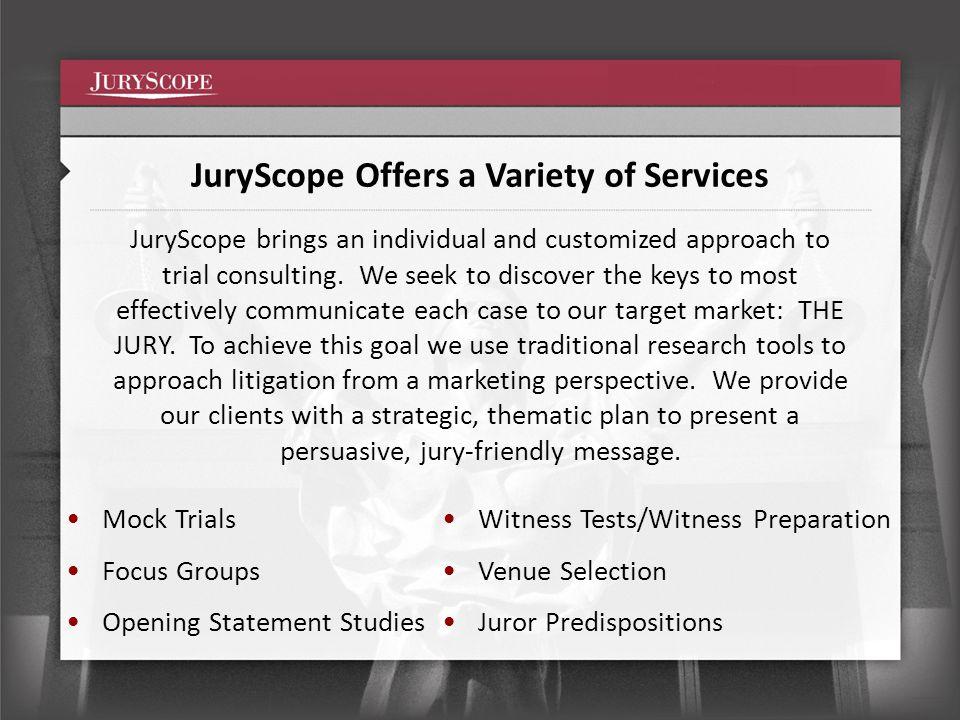 www.juryscope.com Presentation Content Written & Compiled by: Christina Ouska couska@juryscope.comcouska@juryscope.com Johanna Carrane jcarrane@juryscope.comjcarrane@juryscope.com Graphics template provided by: VISUALEX visualexllc.com