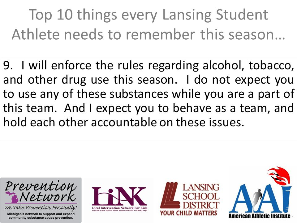 Top 10 things every Lansing Student Athlete needs to remember this season… 9.