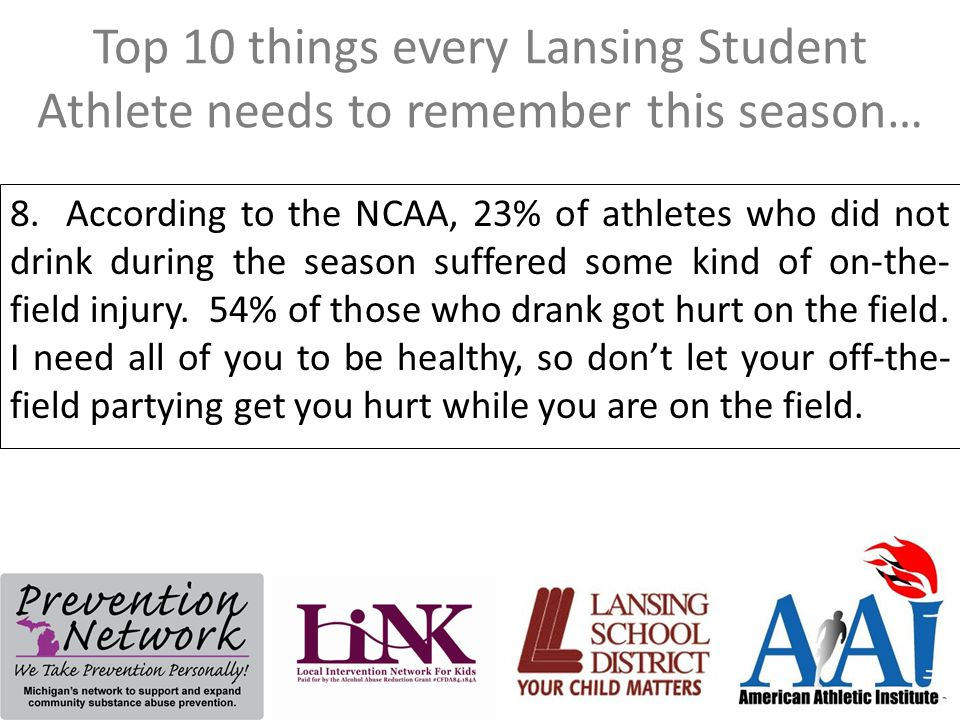 Top 10 things every Lansing Student Athlete needs to remember this season… 8. According to the NCAA, 23% of athletes who did not drink during the seas