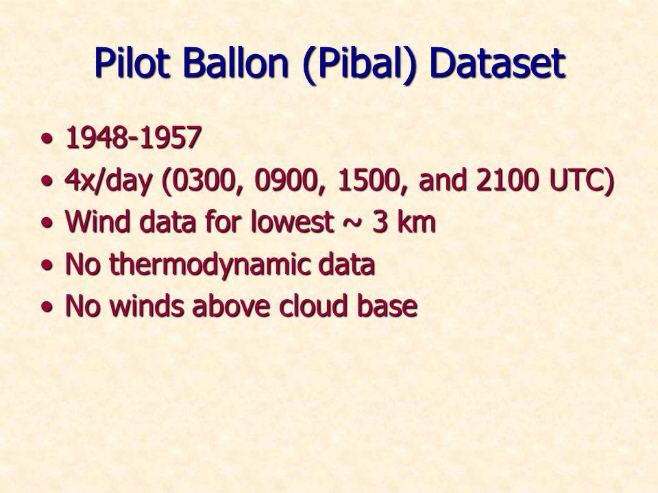 Pilot Ballon (Pibal) Dataset 1948-19571948-1957 4x/day (0300, 0900, 1500, and 2100 UTC)4x/day (0300, 0900, 1500, and 2100 UTC) Wind data for lowest ~ 3 kmWind data for lowest ~ 3 km No thermodynamic dataNo thermodynamic data No winds above cloud baseNo winds above cloud base