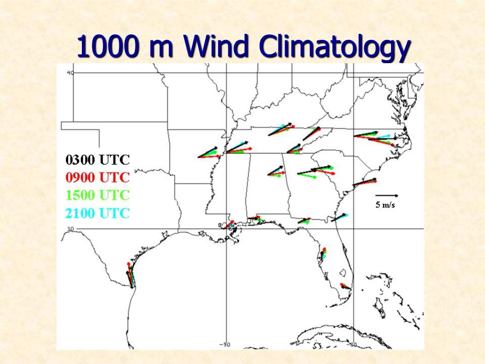 1000 m Wind Climatology