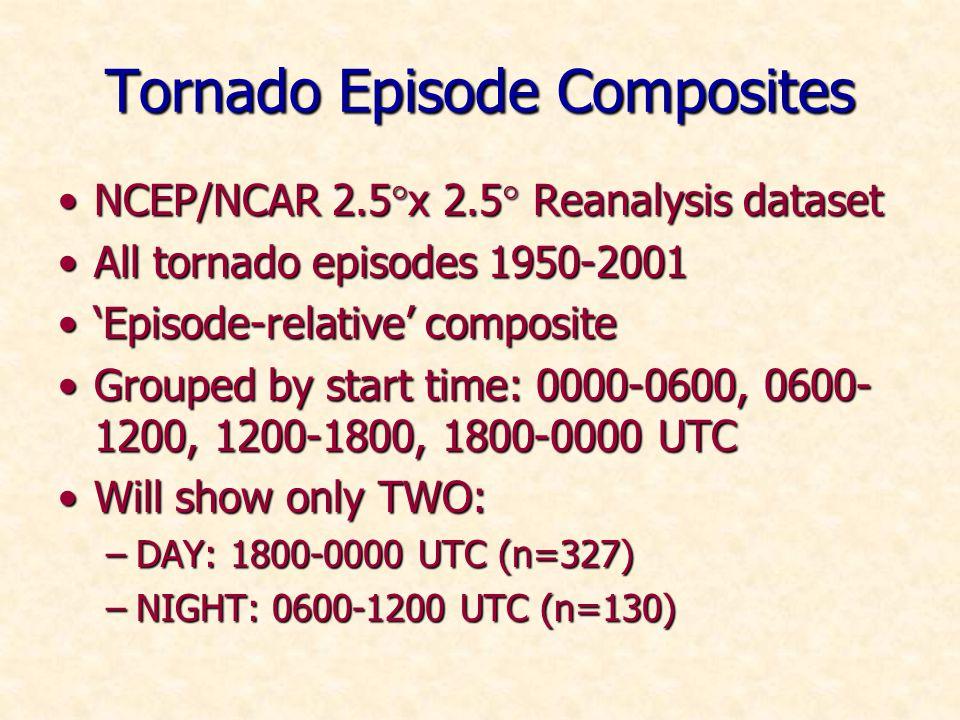 Tornado Episode Composites NCEP/NCAR 2.5 x 2.5 Reanalysis datasetNCEP/NCAR 2.5 x 2.5 Reanalysis dataset All tornado episodes 1950-2001All tornado episodes 1950-2001 Episode-relative compositeEpisode-relative composite Grouped by start time: 0000-0600, 0600- 1200, 1200-1800, 1800-0000 UTCGrouped by start time: 0000-0600, 0600- 1200, 1200-1800, 1800-0000 UTC Will show only TWO:Will show only TWO: –DAY: 1800-0000 UTC (n=327) –NIGHT: 0600-1200 UTC (n=130)