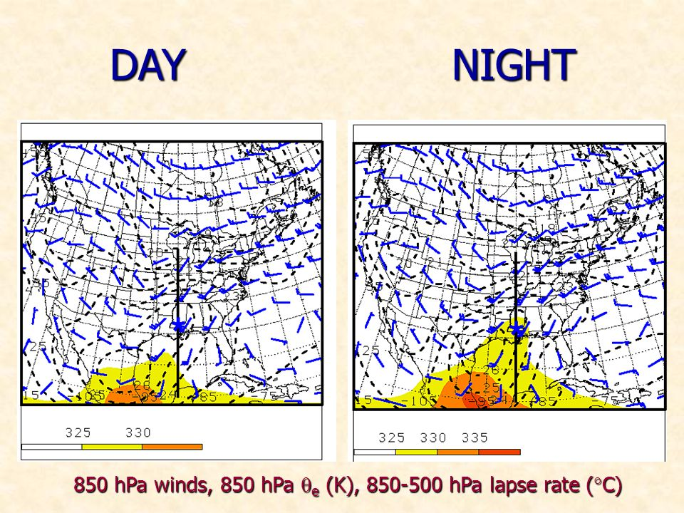 DAYNIGHT 850 hPa winds, 850 hPa e (K), 850-500 hPa lapse rate ( C)