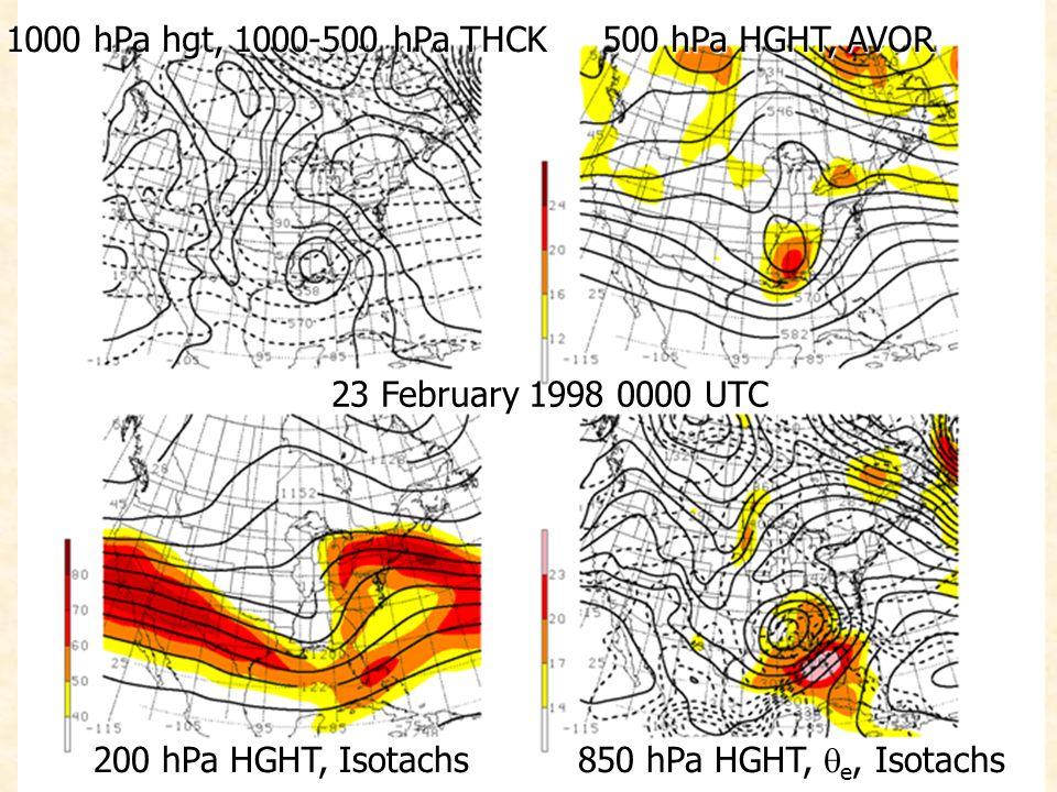 1000 hPa hgt, 1000-500 hPa THCK 500 hPa HGHT, AVOR 200 hPa HGHT, Isotachs 850 hPa HGHT, e, Isotachs 23 February 1998 0000 UTC
