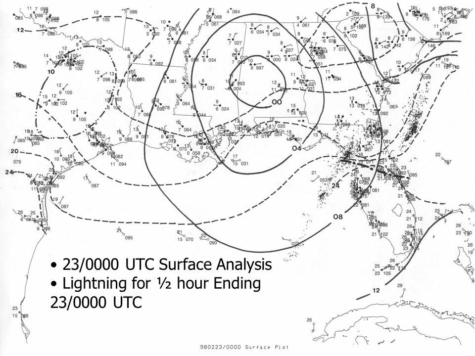 23/0000 UTC Surface Analysis Lightning for ½ hour Ending 23/0000 UTC