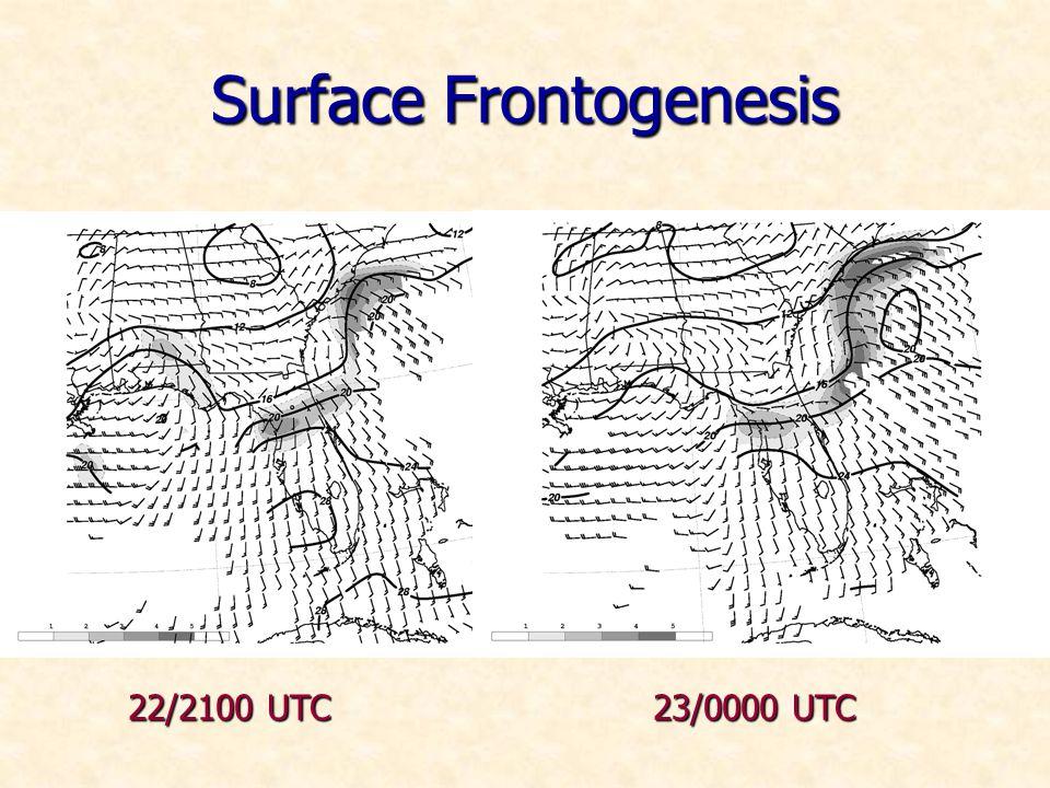 Surface Frontogenesis 22/2100 UTC 23/0000 UTC
