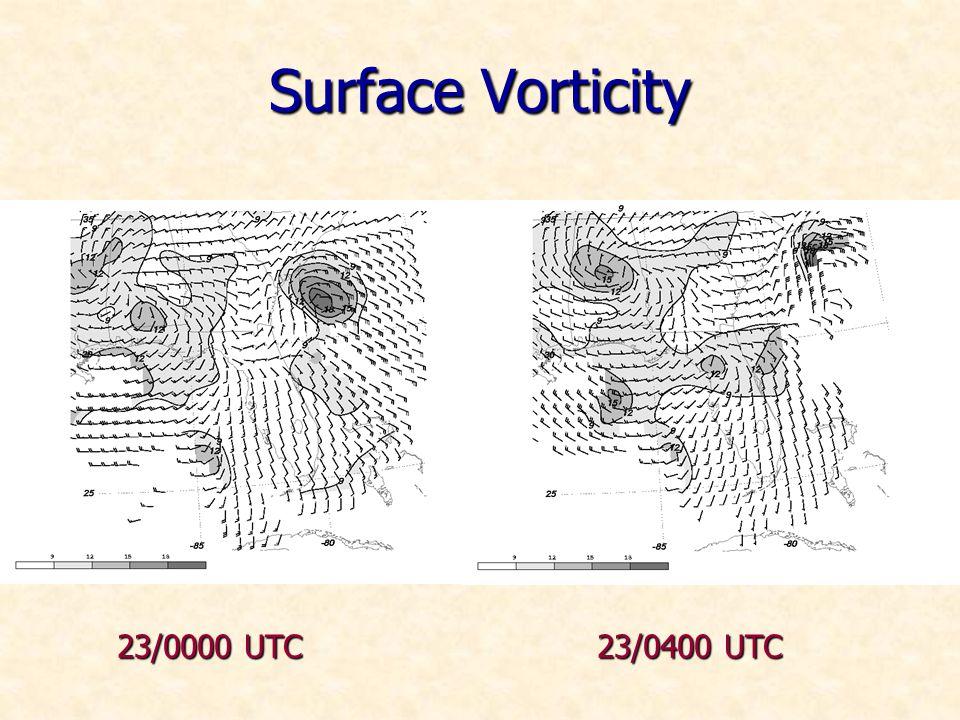 Surface Vorticity 23/0000 UTC 23/0400 UTC