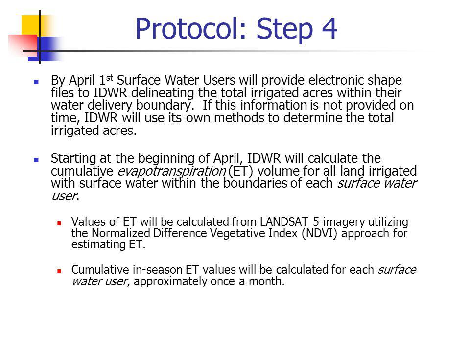 Protocol: Step 4 By April 1 st Surface Water Users will provide electronic shape files to IDWR delineating the total irrigated acres within their wate