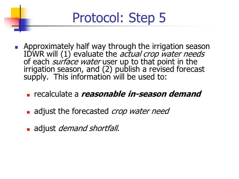 Protocol: Step 5 Approximately half way through the irrigation season IDWR will (1) evaluate the actual crop water needs of each surface water user up