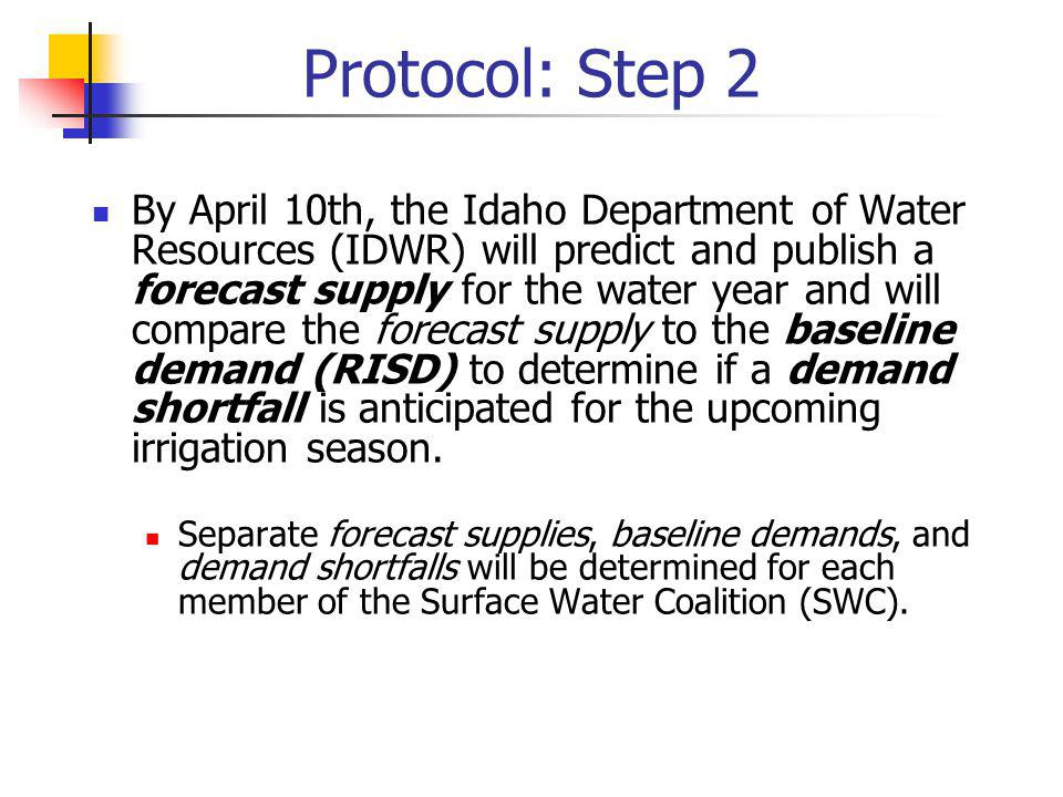 Protocol: Step 2 Relationships: Start of Irrigation Season RISD = BD CWN = BCWN Demand Shortfall = BD – FS April Baseline Demand (BD): the sum of the historical volume of water diverted at the head gate and soil moisture adjustment factor for irrigation year 2006.