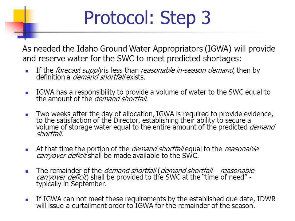 Protocol: Step 8 For the final time, IGWA is required to provide evidence establishing their ability to secure a volume of storage water equal to the revised amount of predicted demand shortfall less reasonable carryover deficit.