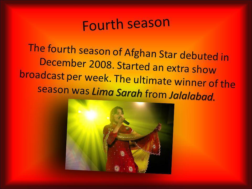 Third season KunduzGhanzi 11 million Rafi NaabzadaMazar The third season of Afghan Star debuted in October 2007. Auditions were held in Kunduz and Gha