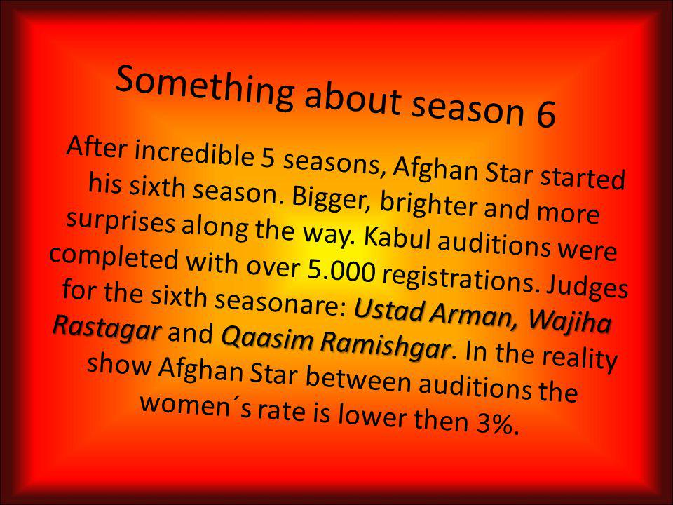 Last (fifth) season Wali Sazesh Heart Afghan Stars fifth season started in October 2009.
